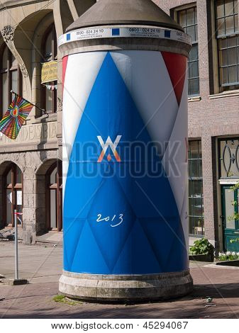 Advertising Column In The City Of Amsterdam During Inauguration Of King Willem-alexander