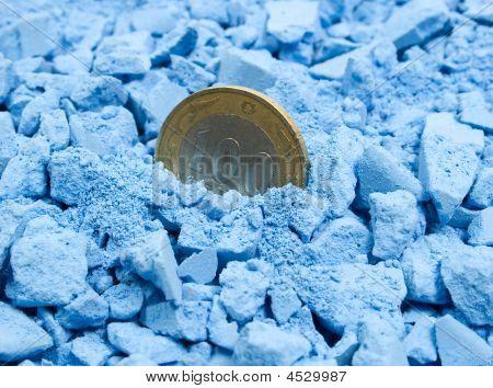 One Bimetall Coin In Blue