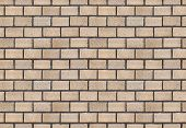The picture of the wall of beige brick for seamless paving the background. poster