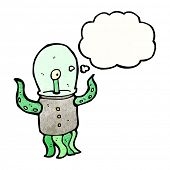 cartoon alien creature poster
