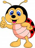 Vector illustration of Cute ladybug cartoon thumb up poster