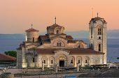 view of Saint Panteleimon Church at twilight in Old Ohrid, Republic of Macedonia poster