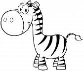 Illustration Of Outlined Zebra Cartoon Mascot Character poster