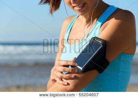 Female Runner With Arm Sport Band