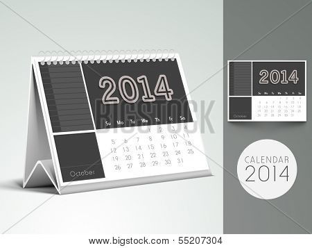 New Year 2014, desk calendar or monthly planner.  poster