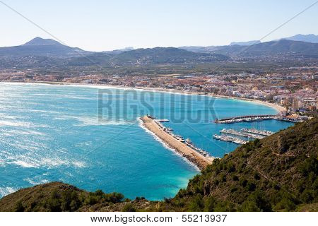 Javea in Alicante aerial view Valencian Community of spain with Mediterranean sea poster