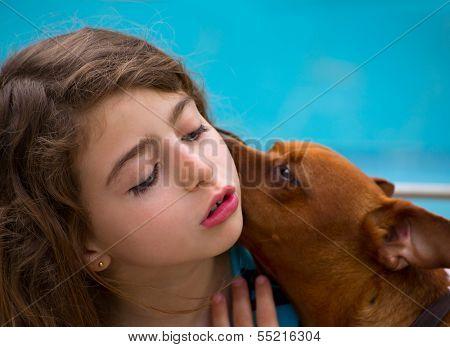 Brunette kid girl and dog pet mascot whispering ear