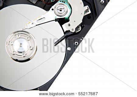 Open The Storage Harddisk On White Background.
