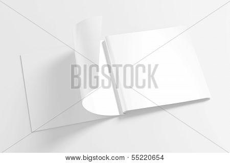 Blank Opened Square Magazine Isolated On White