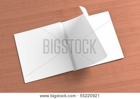 Blank Square Magazine On The Wooden Background