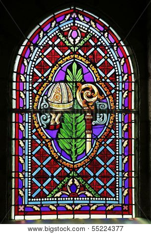 Stained glass window of the Basilica of St-Saveur in Rocamadour, France