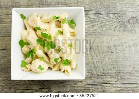 Chicken Aldredo Garnished With Flat Leaf Parsley, Above