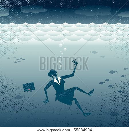 Abstract Businesswoman Drowning