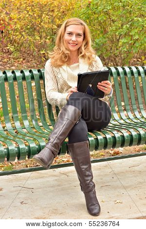 Autumn Blond with Tablet