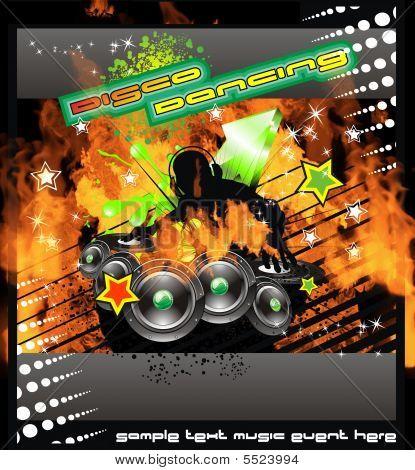Burning Dj Music Background