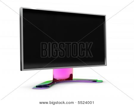 3D TV monitor on white background