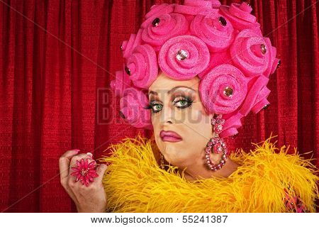Conceited drag queen with foam pink flower wig poster