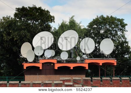 Satellite Dishes On A Telecommunication Center