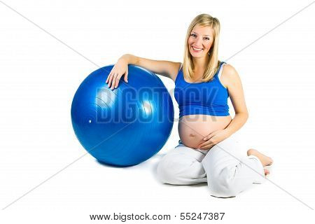 Pregnant Woman Isolated On White