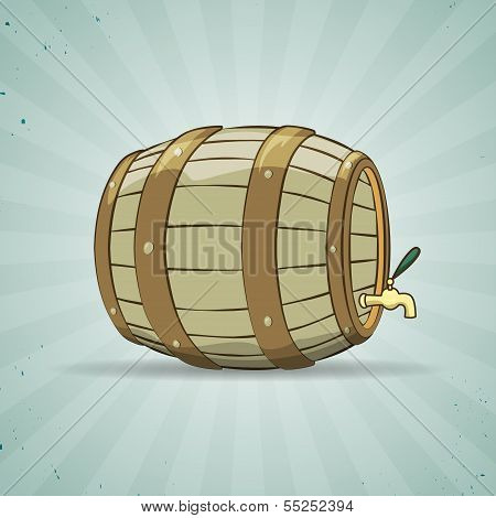 Old wooden barrel filled with natural wine or beer.
