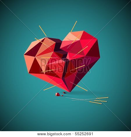 Broken heart with acupuncture needles