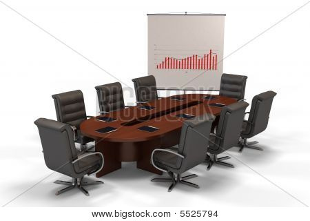 Conference Table With Graph On Screen Isolated On White Background (3D Rendering)
