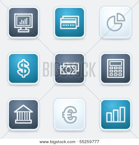 Finance web icon set 1, square buttons