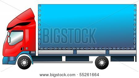 The lorry at the color in a vector