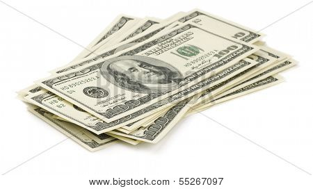 Stack of one hundred dollars bills isolated on white