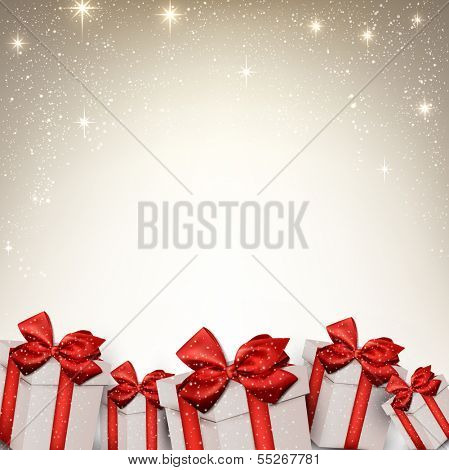 Beige christmas abstract frame. Holiday background with gift boxes. Vector.