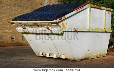 Industrial Recycle Skip With Waste Outside, Ad On White