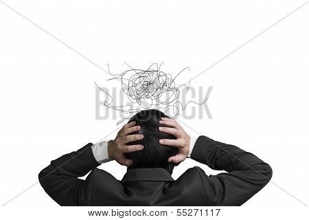 Businessman With 2 Hand Hold Head With Chagrin Expression And Disorderly Lines Isolated In White