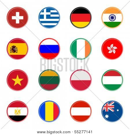 world flag icons - stickers 2/4 (official colors)