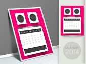 New Year 2014 calendar, monthly planner or organizer.  poster
