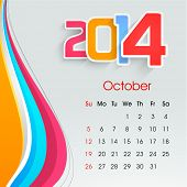 New Year 2014 October month calendar.  poster