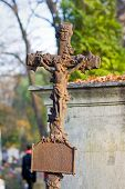 Cross With Crucified Jesus Christ At Cemetery poster