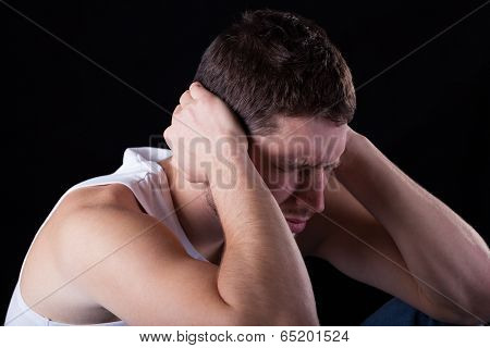 Man feeling strong migraine on isolated background poster
