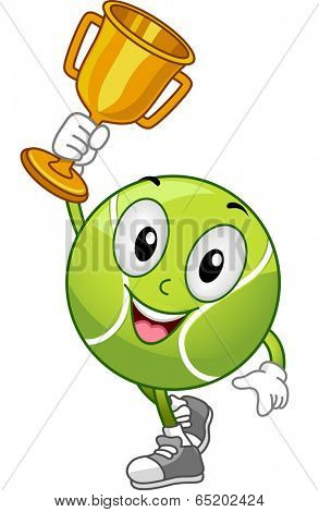 Mascot Illustration Featuring a Lawn Tennis Ball Holding a Gold Trophy