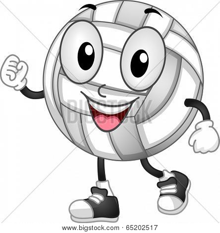 Mascot Illustration of a Volleyball with its Fists Clenched
