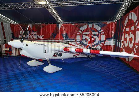 PUTRAJAYA, MALAYSIA - MAY 17, 2014: The Edge 540 V2 plane of Paul Bonhomme of Great Britain parks at the hangar during the Red Bull Air Race World Championship 2014 in Putrajaya, Malaysia.