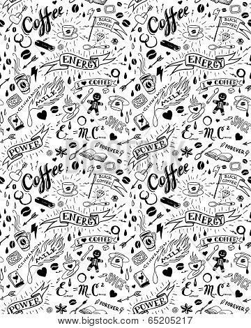 Coffee seamless pattern in tattoo style