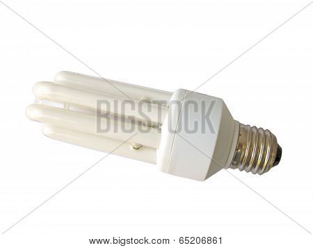 An nergy efficient light bulb isolated on white. Clipping path