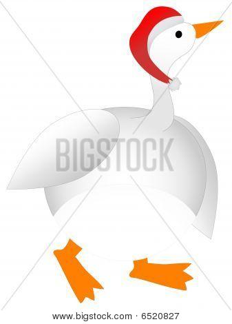 Plump Cartoon Christmas Goose wearing Santa Hat