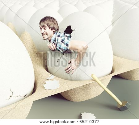 Man hit shell, getting out of eggs. Creative concept