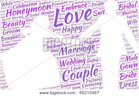 wedding couple silhouette vector tag cloud - marriage concept