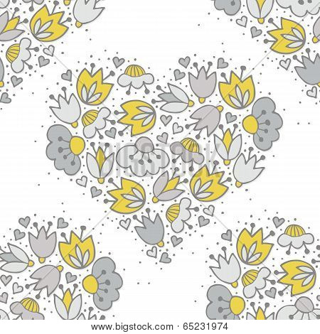 Messy different colorful yellow gray flowers and hearts in heart shape on white background with little dots retro romantic botanical seamless pattern poster