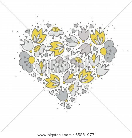 yellow gray flowers and hearts retro romantic botanical centerpiece illustration