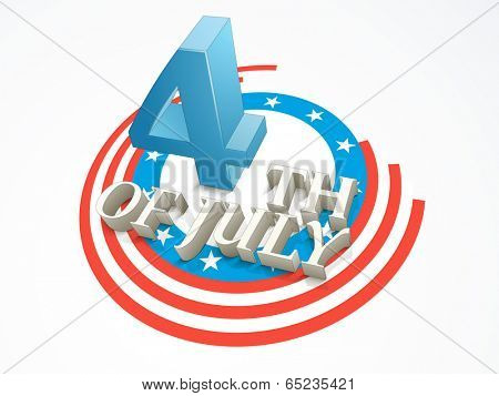 Creative poster, banner or flyer design with stylish 3D text 4th of July on flag colors background for American Independence Day celebration. poster