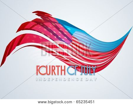 Forth of July, American Independence Day celebration poster, banner or flyer design with flag colors wave on grey background.
