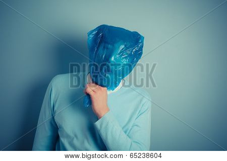 Man With Plastic Bag Over His Head Suffocating